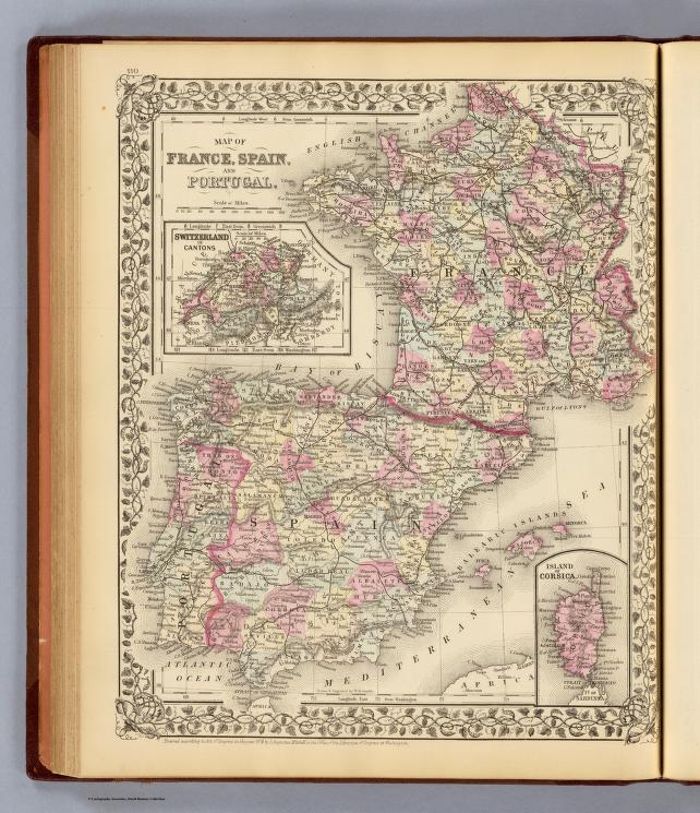 Map Of Spain And France And Portugal.Map Of France Spain And Portugal With Switzerland In Cantons